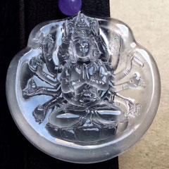 玻璃种翡翠千手观音出水用料厚实 冰润通