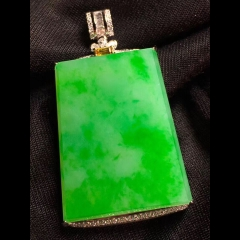 绿花翡翠平安扣无事牌,裸石40.2-31.2-4.