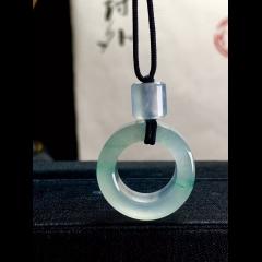 翡翠高冰扣子, 飘绿花, 21.5-7.5mm,6.5