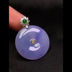 冰种起光紫罗兰平安扣吊坠 镶嵌尺寸: